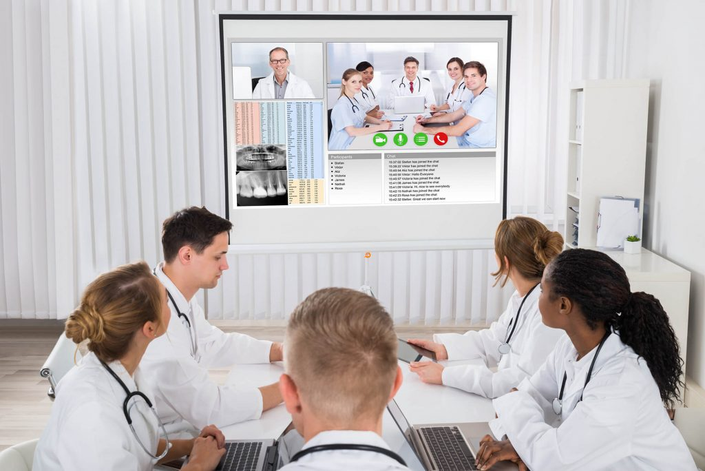 group of doctors on a virtual conference
