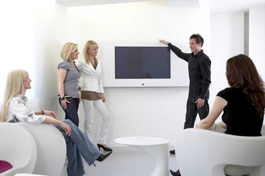 young business people meeting in a visual conference room
